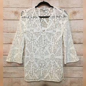 Trina Turk White Cotton Crochet Blouse